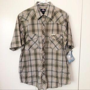 NWT Dickies Mens Shirt XL Pearl Snap Short Sleeve